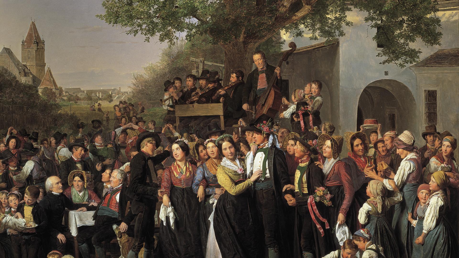 waldmueller bild mit hoeldrichsmuehle - niederösterreichse bauernhochzeit