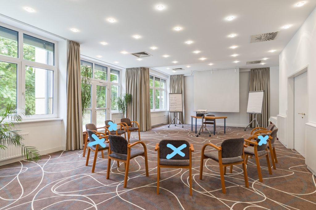 Alle Meetingräume covid-konform ausgestattet mit Zugang ins Freie